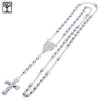 """Jewelry Kay style 4 mm Rosary Stainless Steel Silver Guadalupe Jesus Cross 26"""" Necklace SPY 502 S"""