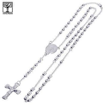"""Jewelry Kay style 6 mm Iced Rosary Stainless Steel Guadalupe Jesus Cross 26"""" Necklace SPY 504 S"""