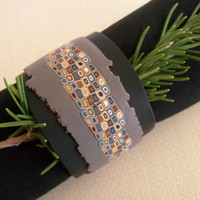 Modern Napkin Rings - handmade polymer clay napkin holders - black grey neutral