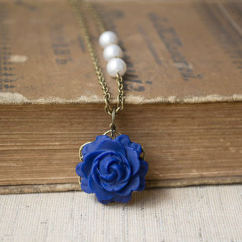 Polymer Clay Dark Blue Rose Pendant Necklace. White Swarovski Pearls Beaded Chain. Antique Brass. Blue Jewelry. Flower Jewelry