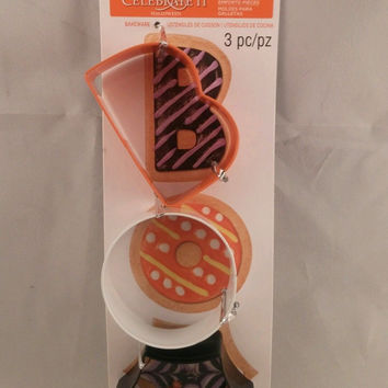 Halloween Cookie Cutter Set B O O Shapes Metal 3 piece New