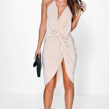 Devin Strappy Knot & Drape Detail Midi Dress | Boohoo