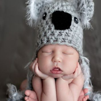 Crochet Koala Bear Knit Newborn Hat Gray Baby Photo Prop - CCA34