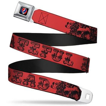 Grateful Dead Men's  Text With Skull & Roses Red Seatbelt Buckle Belt
