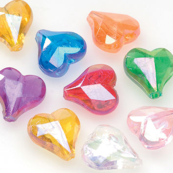 faceted heart beads-multi color