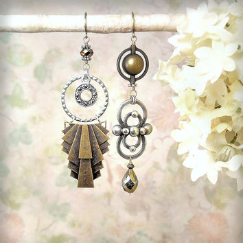 Metropolis OOAK Art Deco Assemblage Earrings Asymmetric Rustic Antiqued Mixed Metals Dangle Earrings, Romantic Bohemian Gypsy Charm Earrings
