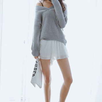 Convertible V Neckline Pullover Cable Knit Sweater for Women