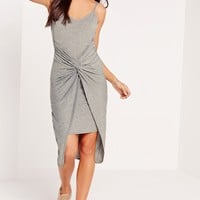 Missguided - Twist Detail Strappy Midi Dress Grey
