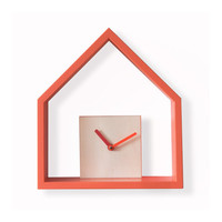 Modern wooden wall clock with decorative house Treebird - in 6 different colors.