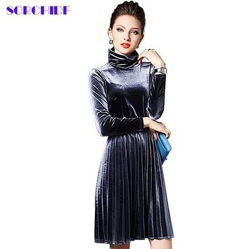 SORCHIDF Women Sexy Velvet Mandarin Collar Vintage Elegant Dress Pleated Party Dress