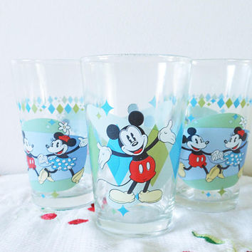 Three Mickey and Minnie Mouse Juice Glasses, 1980's Diamond Disney Juice Glasses, Retro Harlequin Aqua and Green Disney Diner Glasses