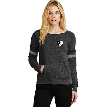 Yin Yang Heart Pocket Print Eco-Fleece Yoga Sweatshirt