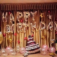 PartyWoo Party Balloons 16 Inch Happy Birthday Balloon Foil Balloon Helium Balloon Set 25Pcs