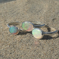 Mermaid Tear Opal and Sterling Silver Stacker Ring