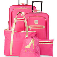New Directions® 5-Piece Pink with Metallic Gold Trim Luggage