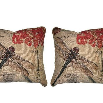 "DaDa Bedding Set of Two Dragonfly Dreams Throw Pillow Covers w/ Inserts - 18"" - 2-PCS"