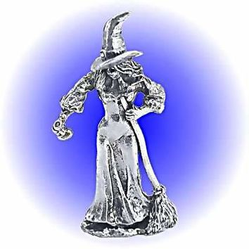 Witch With Broom and Potion Bottle  Pewter Lead Free