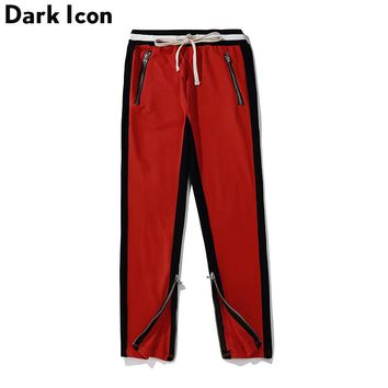 Side Patchwork Elastic Waist Drawstring Men's Track Pants Street wear Terry Material Cotton Pants Trousers Men 9 Colors