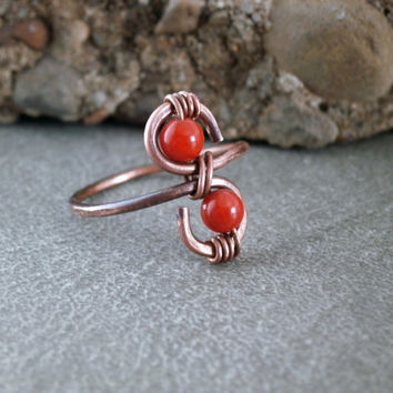 Copper Wire Wrapped Ring Red Coral Beads Hammered Ring Copper and Gemstone Jewelry Handcrafted Made to Order Coral Jewelry Red Ring