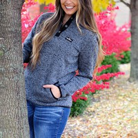 * Simply Southern Knit Pullover: Heathered Charcoal/Black