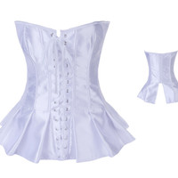 White Lace Up Satin Corset