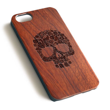 Floral Pattern Skull Natural wood iPhone case laser engraved iPhone 7 6 6S Plus case WA023