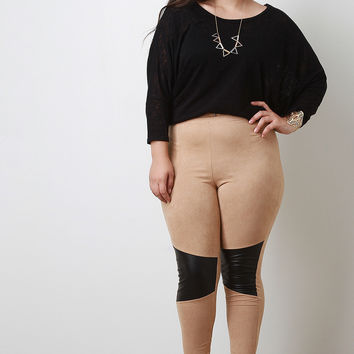 Vegan Leather Patch Suede Leggings