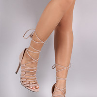 Suede Strappy Tassel Lace-Up Stiletto Heel