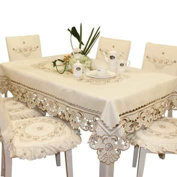"""22.5""""*70"""" Embroidered Square Lace Tablecloth Floral Printed Handmade Table Cover"""