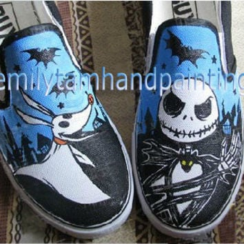 Nightmare Before Christmas Jack Skellington and Zero Vans Slip On Shoes