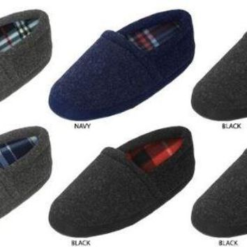 Zac & Evan Boy's Flannel Slippers with Plaid Fleece Lining - CASE OF 72