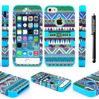 For Apple IPhone 5 5G 5S 6th Gen 4g LTE TopOnDeal TM Blue Aztec Vintage Tribal Design 3PC Design Hybrid Hard and Soft Case Cover+Stylus Touch Pen (Blue Aztec Vintage Tribal Design)