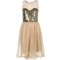 Nude Sequin Bodice Dress - Miss Selfridge - Polyvore