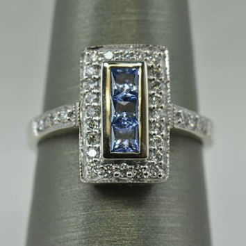 "Designer Ceylon Blue Sapphire & Diamond Ring by Effy Signed ""Bita"" 14k White Gold Size 6.75 Art Deco Style Promise Ring Vintage Ring"