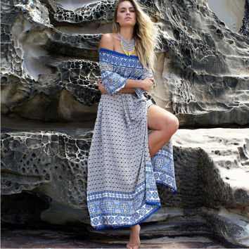 Coffee and Blue Bohemian Printed High Slit Maxi Dress
