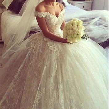 [177.74] Fantastic Lace Off-the-shoulder Neckline Ball Gown Wedding Dresses With 3D Flowers #blackfriday - dressilyme.com