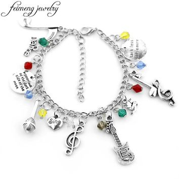 feimeng jewelry Fashion Exquisite Design Prince Charms Bracelets Music Note Sing Guitar Microphon Bracelets&Bangles For Women