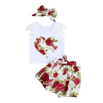 3PCS Set Baby Girls Clothes 2017 Summer Toddler Kids Lace Floral Heart Tops+Bloomer+Headband Outfits Children Girl Clothing Set
