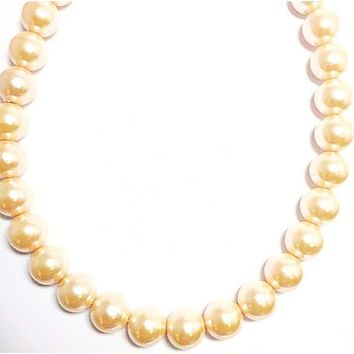 """16 """" Chunky Peach Necklace Round Beads Simulating Pearls"""