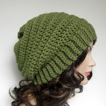 Sage Green Womens Slouch Beanie - Ladies Slouchy Crochet Hat - Oversized Ribbed Cap - Chunky Hat