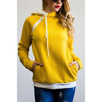 Double Hood Hoodie Cable Knit Sweater - Yellow