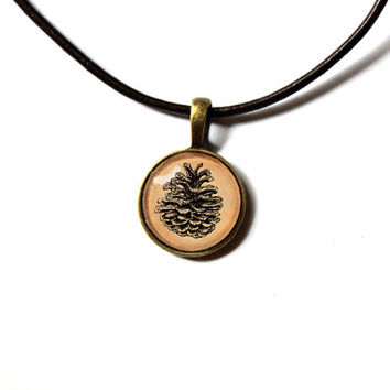 Pine cone pendant natural history art jewelry vintage look Antique style Unisex n55