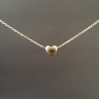 simple mini heart sterling silver chain necklace