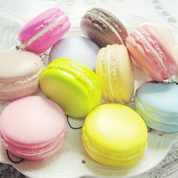 New Arrival 1PC Kawaii Soft Dessert Macaron Squishy Cute Cell phone Charms Key Straps