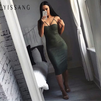 3 Color Suede Bustier Dress Spaghetti Straps Sexy Solid autumn winter bodycon dresses plus size