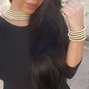 Choker Necklace Bracelet Sets Kardashian Statement jewelleryfemme