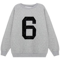 ROMWE | Letter 6 Print Grey Loose Sweatshirt, The Latest Street Fashion