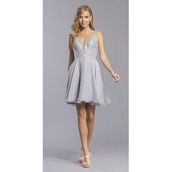 V-Neck Embroidered Homecoming Short Dress Slate Gray