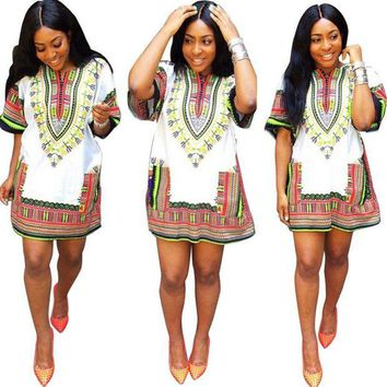 LMFOK5 African Summer Dress   Straight Print Above Knee