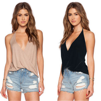 Sexy Women Summer V Neck Sleeveless Loose Casual Shirt Backless Tank Tops Vest Blouse = 6092392515